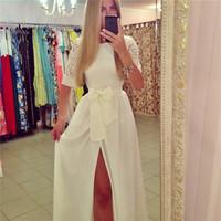 Women White Lace Vestidos 2015 Fashion Lace Floral Dress Half Sleeve Bow Dresses Slit Long Bandage Dress Vestido De Festa 2693
