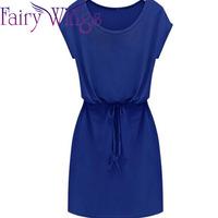 2015 Spring Summer Dress Women Casual Dress Chiffon Short Sleeve Mini Slim Belt Vestidos Vintage Women Party Dress XXL PH2713
