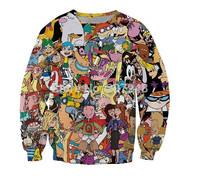 2015 fashion women/men clothes novelty printed After the 90 cartoon character set print 3d Hoodies  Galaxy sweatshirts