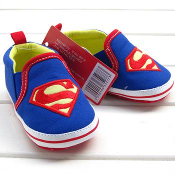 Розничная 1 шт. детская обувь для мальчика девушки синий S супермен хлопка младенца ...