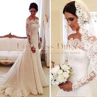 Boutique Lace Wedding Dress Full Long Sleeves Sweep Train Mermaid Wedding Dress Elegant Vintage Wedding Dress Vestido De Noiva