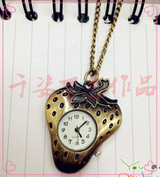 Fashion table student watch necklace strawberry type vintage gift lovers pocket watch