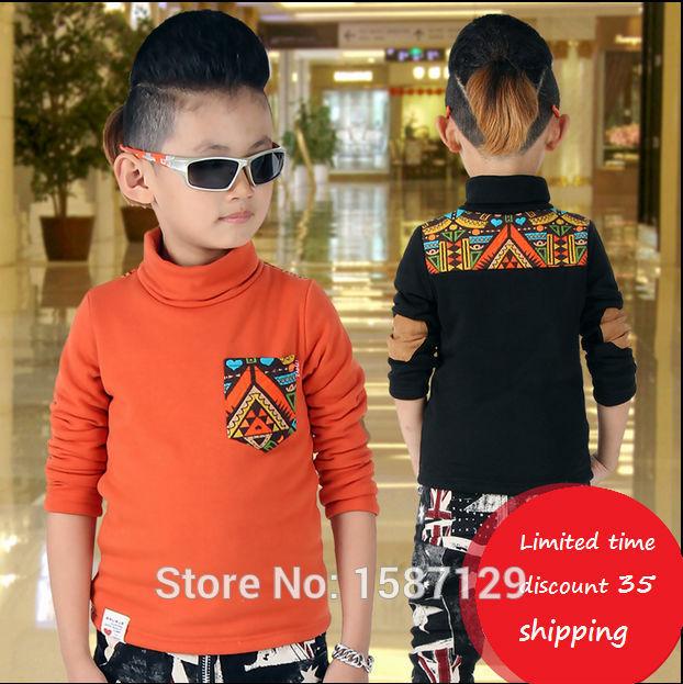 Boy bottoming shirt plus thick velvet high collar fashion Cotton Flax Kids Boys t-shirts for children warm winter coat baby(China (Mainland))