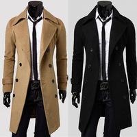 2015 new long slim jacket men men's windbreaker Double-breasted coat long moviemaker