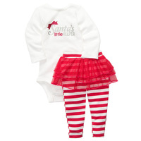 Original Carter's Christmas Baby Girls 2-pieces Clothing Set, Girls Bodysuit & Tutu Legging Set,  Freeshipping