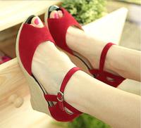 2015 Summer Women Wedges Sandal Female Open Toe Sandals High Heels Shoes sy-1041