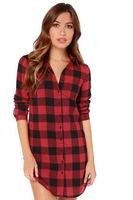 2015 New Red Plaid Shirt Women Long Sleeve Turn Down Collar Polo Shirt Long Cotton PU Pocket Winter Spring Autumn Clothing