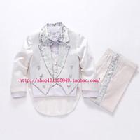 White Children tuxedo child piano musical instrument performance wear flower boys clothes Set Baby Blazer suit For Wedding Party