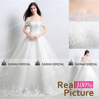 Luxury handmade Beading Crystal Wedding dresses ball gown 2015 Real Sample Elegant Boat Neck Lace Wedding Gown vestido de noiva