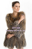 BG70703  Knit Genuine Silver And Golden  Fox Fur Clothes For Women Elegant Long Fur Coat Warm Fox Fur Coat