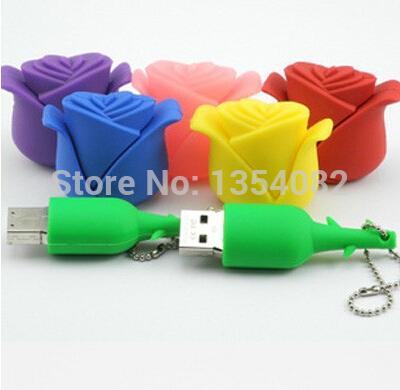 Beauty Rose Design Valentine Gift Silicone USB Flash Drive USB 2.0 Memory Stick1GB 2GB 4GB 8GB 16GB 32GB Pen Drive Hub(China (Mainland))