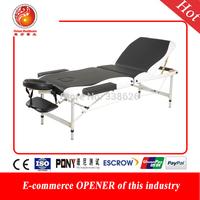 Portable folding massage bed with big round toe 5cm sponge aluminum leg white and black color max bear 800kg folding massage bed