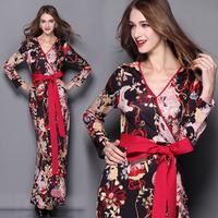 Top Quality New 2015 Spring Fashion Women V-Neck National Print Long Sleeve Floor Length Long Dress European Vestido With Belt
