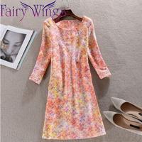 2015 Spring Dress Women Casual Dress OL Slim Print Vintage Vestidos Elegant Women Party Dress 3XL XXL PH2714