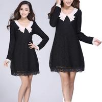 2014 New Women Fashion Lace Vestidos Floral Long Sleeve Doll Collar Slim Elegant Leisure Mini Dress Size L-3XL Hot Sale