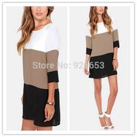Top Selling Vestidos Party Desigual Straight Dresses Women Color Block Half Sleeve Vintage New 2015 Chiffon Casual Loose Dress