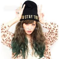 new harajuku brown+green color curly wavy full wig Kanekalon fibre no Lace Front wholesale Wigs