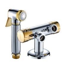 goldenen& chrome wand multifunktions-mischer ventil + Messing bidet sprayer wasserhahn(China (Mainland))