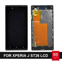 For Sony Ericsson for Xperia J ST26 ST26i LCD Screen Display and Touch Screen Digitizer Assembly With Frame Black color