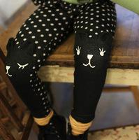 2015 spring new arrival girls cute cartoon cat legggings fake Denim dot pants kids fashion culotte 595