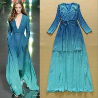 Top Quality!New 2015 Fashion European American Spring Women V-Neck Gradient Print Color Long Sleeve Bohemian Beach Long Dress