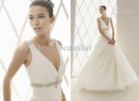 2015 New Sexy beautifully design and style Custom Made V Neck Beaded Zipper Up Sweep Train Wedding Dresses Bridal Gown Dress