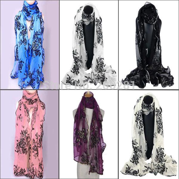 3Pcs/lot 170x36cm Fashion Rose Chiffon Scarf Shawl Wrap For Women Floral Handmade Lace Roses Scarves Long Soft Wrap Shawl Stole(China (Mainland))