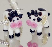3P Advanced Animal Series 925 Stering Silver Cute Dairy cow GLASS BEAD LAMPWORK fit Pandora European Bracelet & Necklaces