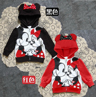 BC120 Free shipping new arrival girl's cartoon overcoat top quality baby's jacket black and red children hoodies retail