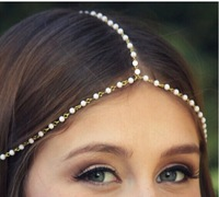 ZH1023 Tassel Hair Accessories for women Fashion pearl beaded charms head bands women jewelry bridal  hair jewelry 2015 tiara