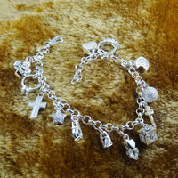 Green Copper Plating Thick Thirteen Hanging Pieces of Europe selling 925 Sterling Silver Christmas gifts silver Bracelets