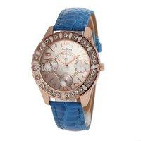 Fashion Bright Leather Belt Rhinestone Golden Case Women's Dress Bracelet Bangle Watch Lady's Luxury Clock Hours Relogio