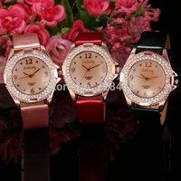 3 Colors Fashion Rhinestone Golden Case Women's Dress Bracelet Bangle Watch Lady's Luxury Clock Hours Relogio