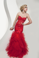 Sexy Mermaid Trumpet Prom Dresses Sweetheart Neck Lace Beads Floor Length Layered Tulle Pageant Dresses Custom