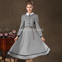 Spring 2015 women new Doll collar plaid long-sleeved dress Sweet Retro Ladies  Long Dress