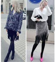 2015 New Sexy Women's Trendy Retro High Waist Faux Suede Fringed Tassel A line Midi Short Skirt Slim Fit Asymmetrical Skirts