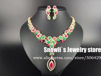 2015 new fashion Romantic Aegean Sea colorful flowers zircon Wedding Necklace Earrings set,bride,dinner dressing jewelry S14051