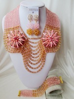 Gorgeous peach champagne gold crystal costume bridal nigerian wedding african beads jewelry set AAA-182