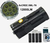 8*T6 U2 LED 10000 lumens SKYRAY King flashlamp 8xCREE XML-T6 8T6 LED Flashlight torch +4x6000mah 3.7v 18650 battery+charger