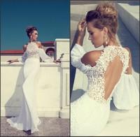 Julie Vino 2014 High Neck Off-shoulder Key-hole Back Sexy Long Sleeve Sheath White Lace Chiffon Wedding Dresses Custom Made