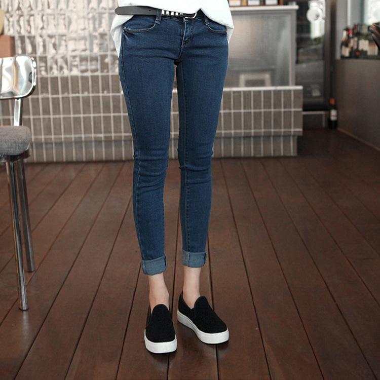 Korean version of the waist and velvet jeans show thin elastic jeans girl slim feet pencil pants gold velvet(China (Mainland))