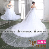 luxury Crystal wedding Dresses 2015 Real Sample Sweetheart Ball Gown Wedding Gowns with Long Trains vestido de noiva princesa