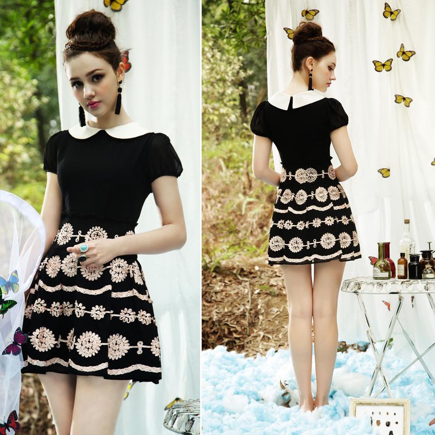2014 Women's European leg of the summer palace retro doll collar short-sleeved embroidered Slim platter tutu dress(China (Mainland))