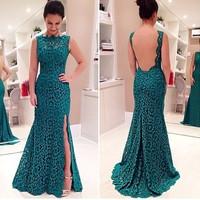 2015 New Emerald Green Evening Dresses Vestidos De Festa Longo Para Casamento Vestido Longo De Renda Backless Court Train Dress