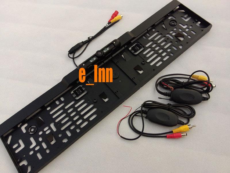 2.4GHz Wireless License Plate Frame Rearview EU Car Camera+Wireless Transmitter Receiver(China (Mainland))