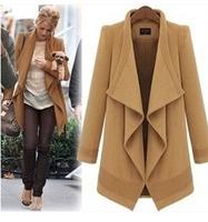 XL Women Plus Size Outerwear Casual Winter Overcoat High Street Formal black khaqi Long Sleeve Turn-down Collar Long Female Coat