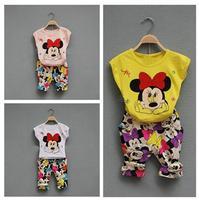 5set/lot wholesale short sleeve kid minnie t-shirt pants 2pcs set summer children clothes set
