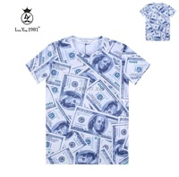 2015 Hot ! new popular t-shirt whole clothing print Dollars men /boy 3d t shirt good quality cotton tshirt