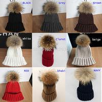 Winter Women Warm Real Rabbit Fur ball Woolen Knitting Baggy Beanie Beret Ski Cap Hat 11 colors free shipping
