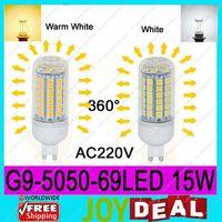 AC220V G9 5050SMD 69LEDs 15W High Quality Bright Corn LED Bulb Wall Lamps Ceiling light White 6500K or Warm White 3200K